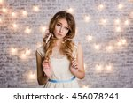 cute tender slim girl with... | Shutterstock . vector #456078241