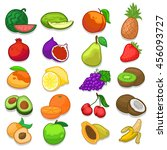 hand made fruits doodle icons... | Shutterstock .eps vector #456093727