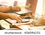 a businessman analyzing...   Shutterstock . vector #456096151