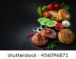 homemade hamburger. grilled... | Shutterstock . vector #456096871