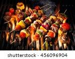 barbecue skewers meat kebabs... | Shutterstock . vector #456096904