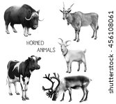 set of black and white animals... | Shutterstock . vector #456108061