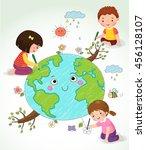 vector illustration of kids... | Shutterstock .eps vector #456128107