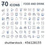set vector line icons drinks ... | Shutterstock .eps vector #456128155