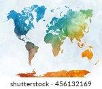 world map in watercolor...   Shutterstock . vector #456132169