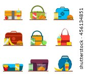 school kids lunch bags set with ... | Shutterstock .eps vector #456134851