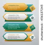 set of 3d green and golden... | Shutterstock .eps vector #456137245