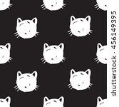 cats face heads  pets pattern... | Shutterstock .eps vector #456149395