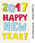 happy new year 2017 wishes | Shutterstock . vector #456158971