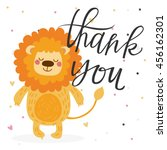 cute thank you card with leon | Shutterstock .eps vector #456162301