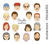 hand drawn people crowd doodle... | Shutterstock .eps vector #456166501