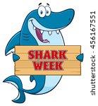 Happy Blue Shark Cartoon Masco...