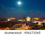 Skyline Of Kiev With Full Moon...
