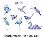 Stock vector abstract colored set birds vector illustration 456182131