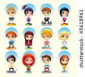 set of funny people with... | Shutterstock .eps vector #45618961