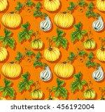 seamless watercolor pumpkin... | Shutterstock . vector #456192004