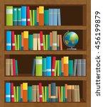 shelves full of colorful books | Shutterstock .eps vector #456199879