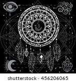 mandala dreamcatcher with four... | Shutterstock .eps vector #456206065