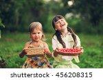 the children eating cherries in ... | Shutterstock . vector #456208315