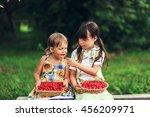 the children eating cherries in ... | Shutterstock . vector #456209971