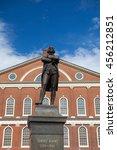 Small photo of BOSTON,MASSACHUSETTS,USA - JULY 15,2016: Statue of Revolutionary Patriot, Samuel Adams, 1722-1803, in front of historic Faneuil Hall, Boston, MA