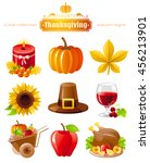 vector icon set with autumn and ... | Shutterstock .eps vector #456213901