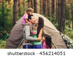 the happy family together at a... | Shutterstock . vector #456214051