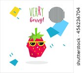 very berry cute strawberry icon ... | Shutterstock .eps vector #456236704