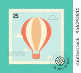 balloon post stamp. go travel... | Shutterstock .eps vector #456242815