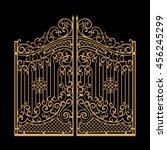 decorated steel gates vector... | Shutterstock .eps vector #456245299