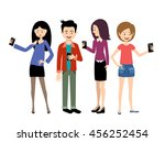selfie people set on the white... | Shutterstock .eps vector #456252454