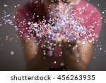 festive young man throwing... | Shutterstock . vector #456263935