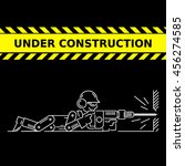 under construction icon. worker ... | Shutterstock .eps vector #456274585