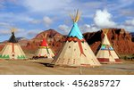 indian tents decorated with... | Shutterstock . vector #456285727