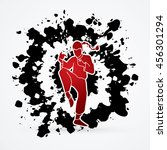 drunken kung fu pose designed...   Shutterstock .eps vector #456301294
