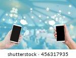 hand show or present big blank... | Shutterstock . vector #456317935