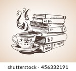 pile of books with cup of tea.... | Shutterstock .eps vector #456332191
