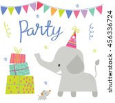 Stock vector cute elephant party 456336724