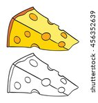 Cheese Slice Drawing. Coloring...