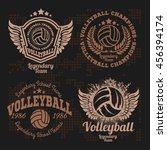 set badges logos volleyball... | Shutterstock .eps vector #456394174