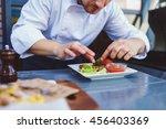 male cook serve delicious steak ... | Shutterstock . vector #456403369