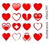 vector set of red hearts in... | Shutterstock .eps vector #45641797