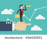 businessman look out with... | Shutterstock .eps vector #456420541