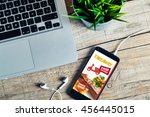 food delivery take away app in... | Shutterstock . vector #456445015
