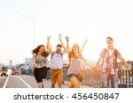 young energetic group of people ... | Shutterstock . vector #456450847