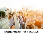 happy energetic  young people... | Shutterstock . vector #456450865