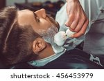 hipster client visiting barber... | Shutterstock . vector #456453979