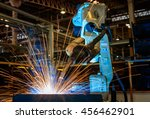 robot welding test run.   | Shutterstock . vector #456462901