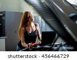 young sexy brunette mechanic in ... | Shutterstock . vector #456466729