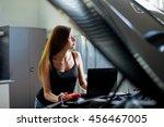young sexy brunette mechanic in ... | Shutterstock . vector #456467005